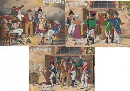 ILLUSTRATEUR BARRE- DAYEZ -  3 CARTES -  L ENTREE EN CAVE - LA PARTIE DE CAVE - LA SORTIE DE CAVE - CARTE COLORISEE - Other Illustrators