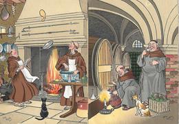 ILLUSTRATEUR BARRE- DAYEZ - 2 CARTES -  LES MOINES -  CARTES COLORISEES - Other Illustrators