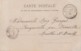 "FRANCE :  CP . TYPE SEMEUSE LIGNEE . OB . "" VITTEL CASINO VOSGES "" . 1904 . - Briefe U. Dokumente"