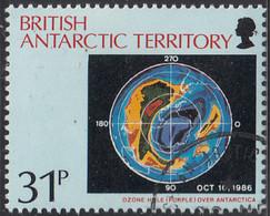 British Antarctic Territory 1991 Used Sc #178 31p Ozone Hole Over Antarctica - Usati
