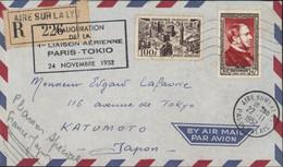 Inauguration 1ère Liaison Aérienne Paris Tokyo 24 11 1952 Pr Japon Recommandé + CAD Aire Sur La Lye 1952 YT 934 + Ae 24 - Air Post