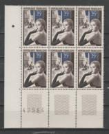 """FRANCE / 1955 / Y&T N° 1020 ** : """"Métiers D'art"""" (Ganterie) X 6 CdF Inf G Avec N° De Feuille - Nuovi"""