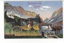 28108 - Souvenir De Leysin Diligence Carte à Système + Carte Taxée - VD Vaud