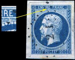 """FRANCE - Yv.14 20c Bleu T.1 Var. """"rayure Blanche Diagonale Depuis Le Haut Du R D'EMPIRE"""" (non Planché) - Obl. TB - 1853-1860 Napoléon III"""