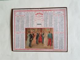 CALENDRIER  OBERTHUR    1899   LES  MARIES  A  LA  SACRISTIE     DEPARTEMENT 80 - Big : ...-1900
