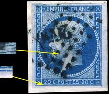 FRANCE - Yv.14c 20c Bleu Sur Azuré T.1 Planché Pos. 15D4 - Obl. TB Pc.2650 (Rennes) - 1853-1860 Napoleon III