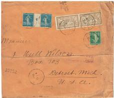 Millesime Semeuse 25c Bleu N°140 Sur Lettre Vers Les USA En 1917 - Non Classificati