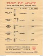 75 PARIS TARIF De Vente 1957 Huiles SHELL Moteurs Diesel Motor Oil  Société Des Pétroles SHELL BERRE - Y97 Bidon Huile - Cars