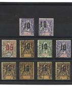1854 LOT De 10 Timbres GABON Oblitérés Dont Variété 10 Décalé Sur 2F Violet - Used Stamps