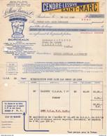 33 BORDEAUX FACTURE 1960 Cendre Lessive SAINT MARC BARRES & Cie   -  Y84 - Publicidad