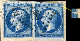 FRANCE - Yv.14B 20c Bleu T.2 Paire Variété (Suarnet Fig.45) - Obl. B Pc.481 (Bourges) - 1853-1860 Napoleon III