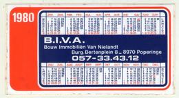 AUTOCOLLANT . STICKER . KALENDER 1980 . BOUW IMMOBILIËN VAN NIELANDT . BURG . BERTENPLEIN  8 . 8970  POPERINGE . - Stickers
