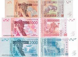 Niger - West African States Set 3 Pcs 500+1000+2000 Francs - Pick 615-619 UNC Letter H - Niger