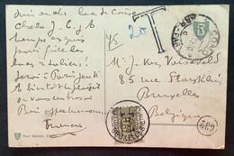TX 20 C. BRUXELLES 1919 BRUSSEL Op Postkaart Como - Brussel - Brieven