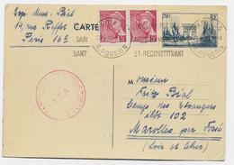 ENTIER 70C CP + MERCURE 5CX2 PARIS 1940 POUR CAMP DES ETRANGERS ILOT 102 MAROLLES PAR FOSSE LOIR ET CHER + CONTROLE - WW II
