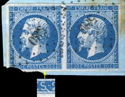 """FRANCE - Yv.14A 20c Bleu T.1 Paire (non Planchés) Var. """"trait Blanc Après Le S De POSTES"""" - Obl. Def. Pc.580 (Cahors) - 1853-1860 Napoléon III"""