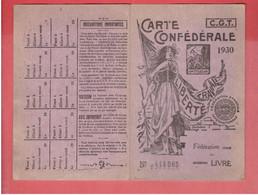 CARTE CONFEDERALE CGT 1930 CONFEDERATION GENERALE DU TRAVAIL FEDERATION DU LIVRE POUR ANDRE COQUAN A CHARTRES - Organizaciones