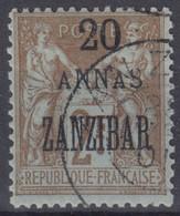 ZANZIBAR : SAGE 2F SURCHARGE 20 ANNAS N° 30 OBLITERATION CHOISIE - Usati