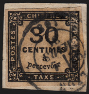 Timbres-Taxe N°6, 30c Noir, Oblitéré LYON 1881 Sur Petit Fragment - B/TB - 1859-1955 Gebraucht