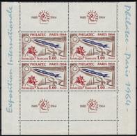 France N°1422 Bloc De 4 Avec Bandelette, Philatec 1964, Neufs ** Sans Charnière - Nuovi