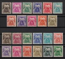 Timbres-Taxe N°67/89, Les 2 Séries Complètes, Neufs ** Sans Charnière COTE 166€ - 1859-1955.. Ungebraucht