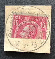 """Leopold II OBP 46 GEHALVEERD - 10c Gestempeld EC BRUXELLES 4 """"Dienst Betwiste Zaken"""" - 1884-1891 Leopold II"""
