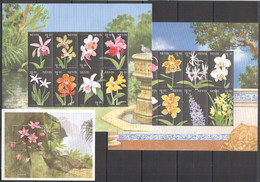 H331 NEVIS FLOWERS FLORA ORCHIDS !!! 2KB+1BL MNH - Orchidee