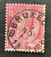 """Leopold II OBP 46 - 10c Gestempeld EC BRUXELLES 8 """"Facteurs Distributeurs"""" - 1884-1891 Leopold II"""