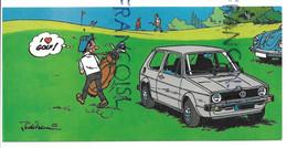 Volkswagen Golf Et Joueur De Golf. 50ème Anniversaire De VW Belgique. Signée Jidéhem - Turismo