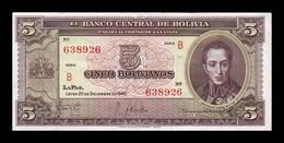 Bolivia 5 Bolivianos L.1945 Pick 138a(1) Serie B SC UNC - Bolivia