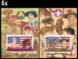 BULK:5 X ST.VINCENT 1986 Scouting Decorative Border IMPERF. Sheetlets:2 Number Powell Flag Rat Mushrooms Rabbit - St.Vincent (1979-...)