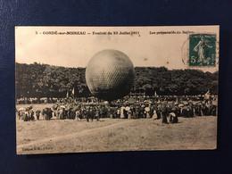 CPA CONDE SUR NOIREAU FESTIVAL 23/07/1901 PRÉPARATIFS BALLON - Other Municipalities