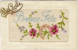 CARTE FANTAISIE GAUFFREE PRENOM SAINTE CECILE BONNE FETE N01 - Embroidered