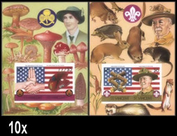 BULK:10 X ST.VINCENT 1986 Scouting Decorative Border IMPERF. Sheetlets:2 Number Powell Flag Rat Mushrooms Rabbit - St.Vincent (1979-...)