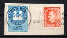 Norwegen 1952 Vignette Olympiade Winter Gest. Canc. Auf Briefstück - Errors, Freaks & Oddities (EFO)
