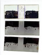 DIGNY EURE ET LOIR 28 LOT 3 PLAQUES DE VERRE STEREO AVION POTEZ 36 LE PLEIN D ESSENCE TOUR DE FRANCE AVIATION - Diapositiva Su Vetro