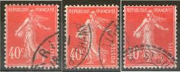 3 N° 194° _Orange-Vermillon-Rouge - 1906-38 Semeuse Camée