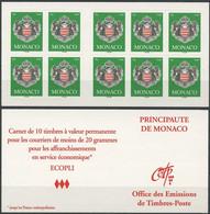 MONACO Carnet 14 ** MNH Armoiries De La Principauté 10 Timbres Validité Permanente 2005 - Carnet