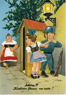 """Carte Postale Allemande: HUMOUR """"Achtung!!! Feindlicher Panzer Von Rechts !"""" - Humor"""