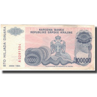 Billet, Croatie, 100,000 Dinara, 1993, KM:R22a, TTB - Croatia