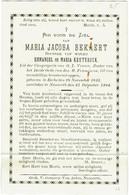 Doodsprentje/Image Mortuaire. Maria Bekaert, Eecke 1825/ Nazareth 1904 - Devotieprenten