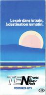 Dépliant Train. Voitures-Lits TEN, Transport Euro Nuit. - Toeristische Brochures