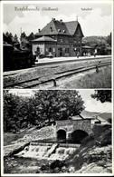CPA Rottleberode Südharz, Blick Auf Den Bahnhof, Gleisseite, Dampflok, Tyrawehr, Brücke - Trains