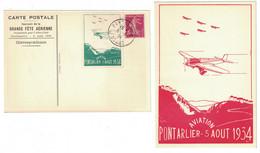 """CARTE POSTALE Avec VIGNETTE """" AVIATION PONTARLIER 5 AOUT 1934 """" SOUVENIR DE LA GRANDE FETE AÉRIENNE + SEMEUSE CAD DOUBS - Air Post"""