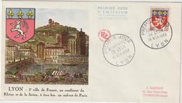 FDC FRANCE N° Yvert 1181 (BLASON LYON) Obl Sp 1er Jour - 1950-1959