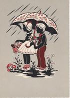 Carte Postale: Garçon Et Fille Sous Un Parapluie - Parejas