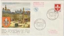 FDC FRANCE N° Yvert 1186 (BLASON LILLE) Obl Sp 1er Jour - 1950-1959
