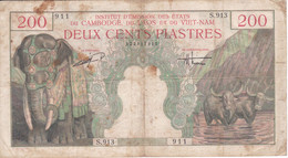 BILLETE DE VIETNAM-CAMBODGE-LAOS DE 200 DONG DEL AÑO 1953 (BANKNOTE) ELEFANTE-ELEPHANT - Vietnam