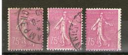 3 N° 202° _pâle _vif Et Foncé_1 Papier Jaune_2 Blancs - 1903-60 Semeuse Lignée