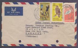 UNION OF BURMA Postal History Cover - Bird Stamps Affixed, Used 15.2.1973 - Myanmar (Burma 1948-...)